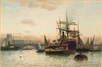 ships and barges on the thames by robert malcolm lloyd
