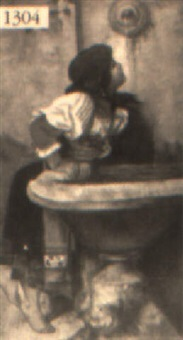 an italian girl drinking from a well by a. goldstein