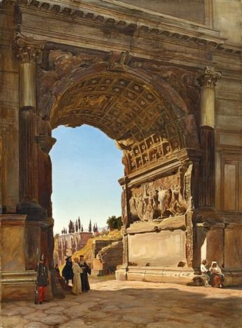 der titusbogen auf dem forum romanum by friedrich loos