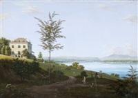 ansicht einer villa auf einer anhöhe vor einer seebucht by j. dubois