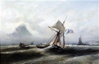 fishing boat in a squall, a lighthouse beyond by nicholas edward gabe