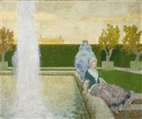junge frau in einem park mit grosser fontäne by fritz erler