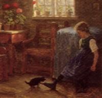 interior med lille pige der leger med en killing by valdemar holger v. rasmussen magaard