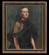 portrait of an elegant woman in black by frederick warren freer