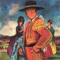 a matador with woman admirers (portrait of rudolph valentino in
