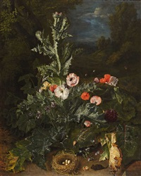 still life with thistle and nest by peter (petrus) snyers