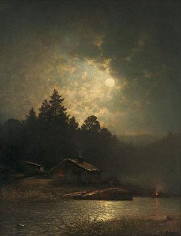 clair de lune sur le lac by sophus jacobsen