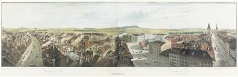 panorama von bernvom käfigthurm aus on 2 joined sheets by rudolf huber