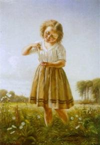 sommereng med pige der har fanget en sommerfugl by christian pram henningsen
