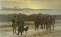 first instruction in guard duty - a scene from the revolution by julian scott
