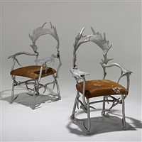 pair of antler chairs by arthur court