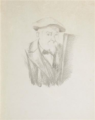 selbstporträt cézanne au béret devant un chevalet by paul cézanne