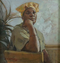 african american woman contemplating by burt silverman