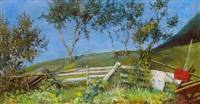 landschaft mit weissem zaun by gustav adolf appelbaum
