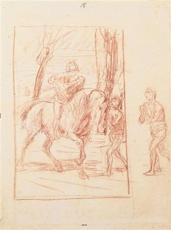 der heilige martin teilt seinen mantel mit einem bettler sketch by hans von marees
