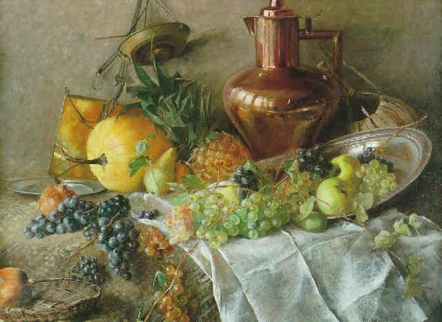 stilleben med frukter och kopparkanna by marie hesse