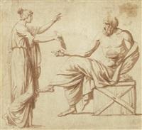antike szene - junge frau überreicht dem philosophen eine schrift by francois-xavier fabre
