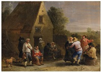 kermesse with bagpiper and dancers by theobald michau