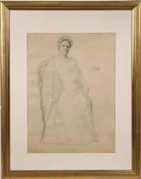 study of seated woman with handfan by jefferson david chalfant
