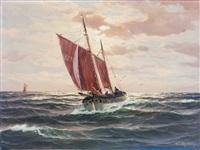 fischkutter am abend. marine mit einlaufendem boot by martin franz glüsing (francis-glüsing)