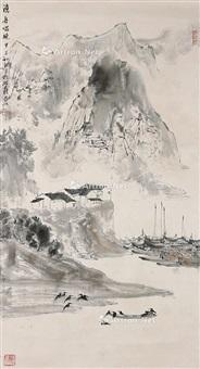 山水 挂轴 设色纸本 by ya ming