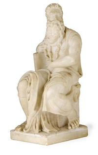 moses seated with the tablets of the law by michelangelo