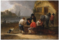 view of a harbour with drinking peasants by theobald michau
