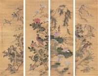 花鸟 (flowers and birds in four seasons) (4 works) by lin lingxu