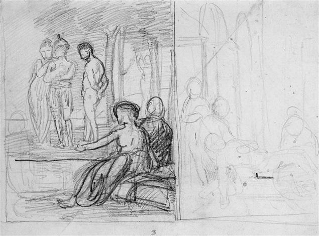 skizze mit figurenstudien by hans von marees