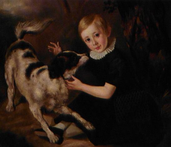 præsten albert damborg som barn siddende i gron kjole med hund by morten thrane brünnich