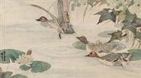 莲塘雁栖图 by liu kuiling