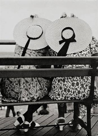 untitled two women sitting on a bench coney island new york by erwin blumenfeld