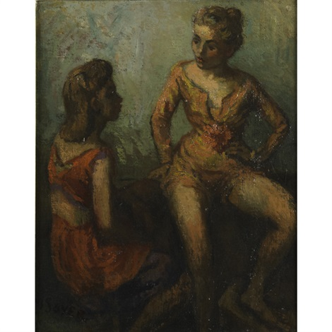 untitled two women by moses soyer