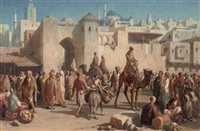 a busy arab market by louis tesson