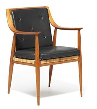 rare armchair with sweeping armrests by peter hvidt