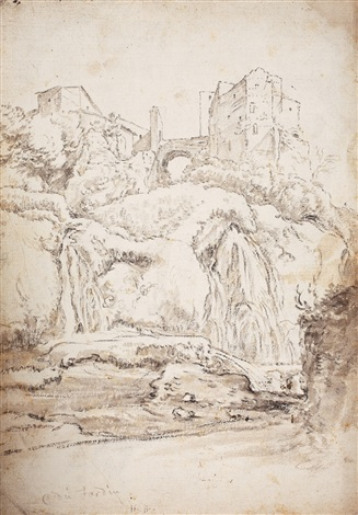 southern landscape with castle and bridge landscape study verso by karel dujardin