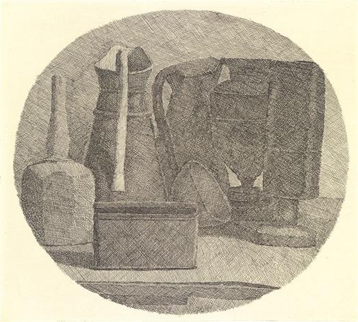 natura morta con sette oggetti in un tondo by giorgio morandi