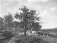 romantische waldlandschaft mit viehstaffage und zugehörigem hirten by carl bastini