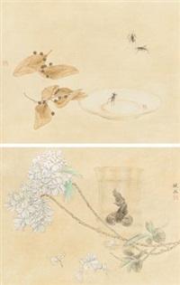 瓶鱼 草虫 (两幅) (2 works) by rao wei