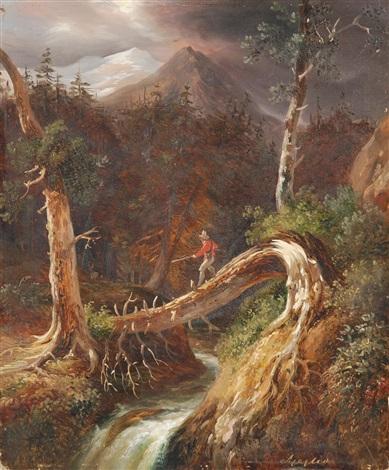 paesaggio fluviale con cacciatore by massimo dazeglio