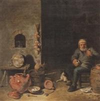 interieur mit einem trinkenden bauern und steinguttöpfen by pieter jacobsz duyfhuysen