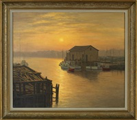 early evening view of docked boats by josef m. arentz