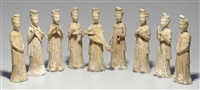 musicians and attendants (set of 9) by anonymous-chinese (sui dynasty)