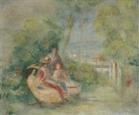 fillettes dans un jardin (personnages dans un paysage) by pierre-auguste renoir