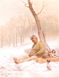 indian mending a snow show by charles caleb ward