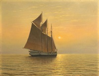 twilight view of a sailboat by josef m. arentz