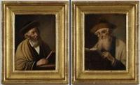 portraits de rabbins (pair) by lajos koloszvary