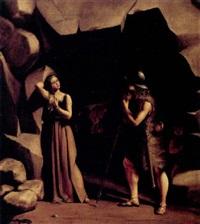 scene fra den nordiske mytologi med en skjoldmo og en kriger foran en grotte by fritz (georg urban f.) jürgensen