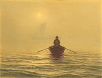 fisherman in a canoe by josef m. arentz