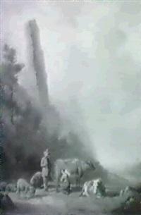 hirtenpaar mit ihren tieren am fluss by franciscus xavery